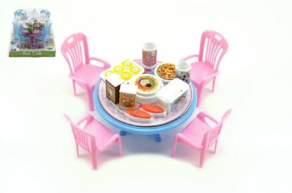 Stůl a židle s doplňky plast 12cm asst 3 barvy v blistru