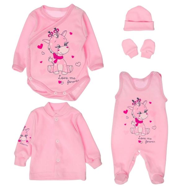 Soupravička do porodnice 5D vel. 56 - žirafka Klementýnka - růžová
