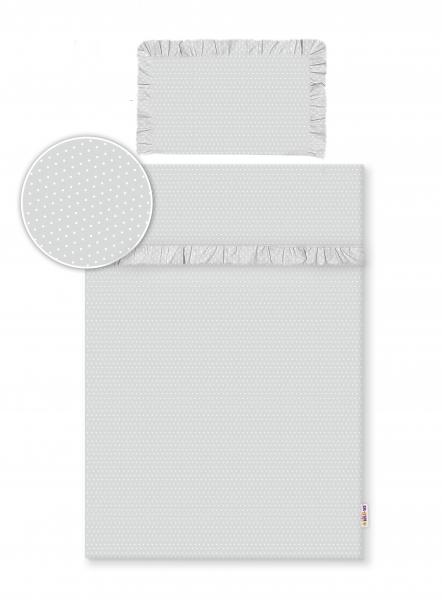 Baby Nellys 2-dílné bavlněné povlečení s volánky - šedé/tečky bílé