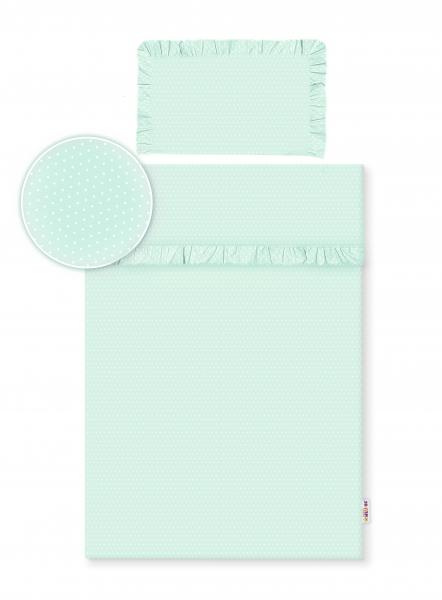 2-dílné bavlněné povlečení s volánky - mátové/tečky bílé, 135x100 cm, Velikost: 135x100