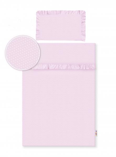 Baby Nellys 2-dílné bavlněné povlečení s volánky - růžové/ tečky bílé