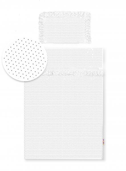 Baby Nellys 2-dílné bavlněné povlečení s volánky - bílé/tečky šedé