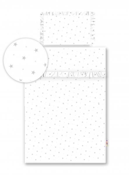 Baby Nellys 2-dílné bavlněné povlečení s volánky - bílé/hvězdičky šedé