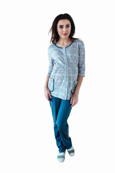 Těhotenské,kojící pyžamo, 3/4 rukáv - šedá/jeans, vel. XXL