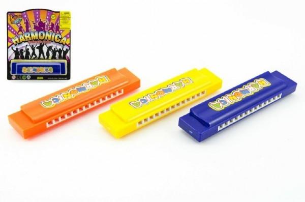 Harmonika plast 13cm asst 3 barvy na kartě