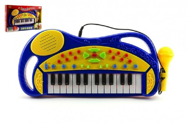 Piánko/Varhany s mikrofonem plast 38cm na baterie asst 2 barvy v krabici
