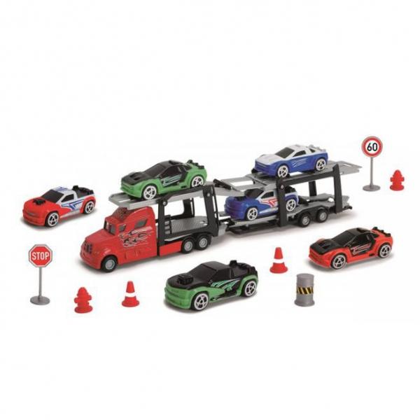 Autotransportér + 6 autíček s příslušenstvím
