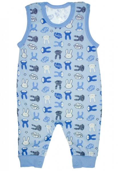 Bavlněné dupačky Zajíčci - modré
