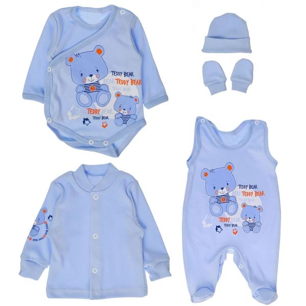 Soupravička do porodnice 5D vel. 62 - medvídci Teddy - modrá