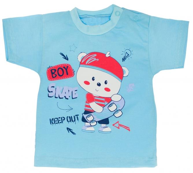 Bavlněné tričko vel. 74 - Medvídek Skate  - tyrkysové, Velikost: 74 (6-9m)