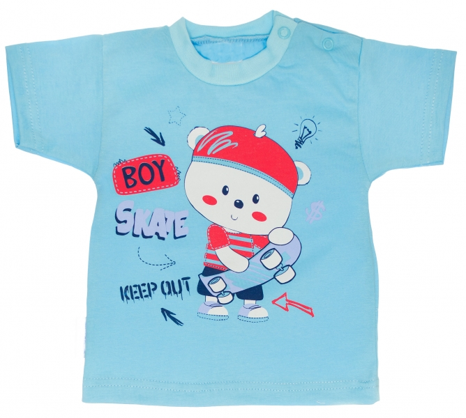 MBaby Bavlněné tričko vel. 80 - Medvídek Skate  - tyrkysové