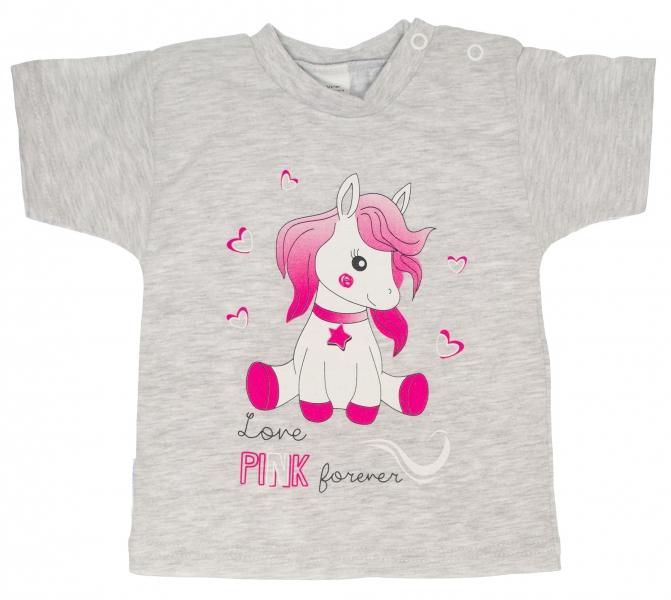Bavlněné tričko vel. 98 - Pony - šedé