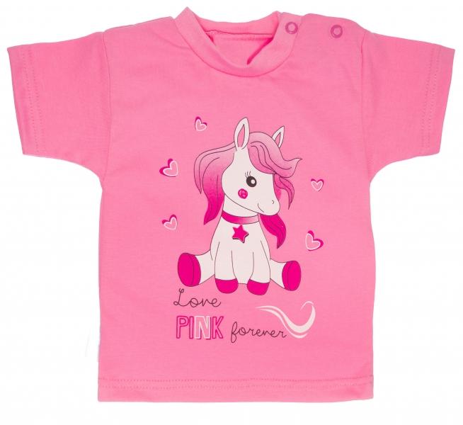 Bavlněné tričko, vel. 80 - Pony - růžové, Velikost: 80 (9-12m)