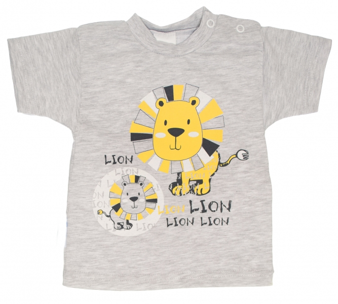 Bavlněné tričko, vel. 74 - Lev - šedé, Velikost: 74 (6-9m)