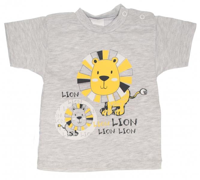 Bavlněné tričko, vel. 80 - Lev - šedé, Velikost: 80 (9-12m)