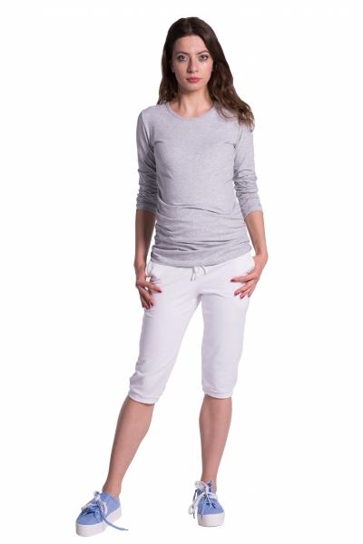 Moderní těhotenské 3/4 kalhoty s kapsami - bílé