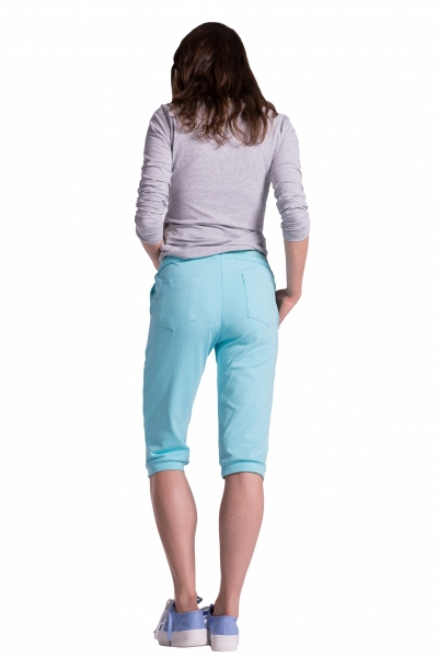 Be MaaMaa Moderní těhotenské 3/4 kalhoty s kapsami - bílé, vel. XXL