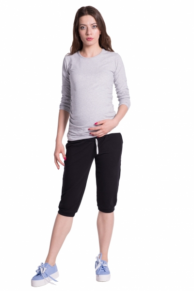 Moderní těhotenské 3/4 kalhoty s kapsami - černé, vel. L