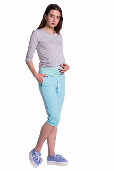 Moderní těhotenské 3/4 kalhoty s kapsami - mátové, vel. S