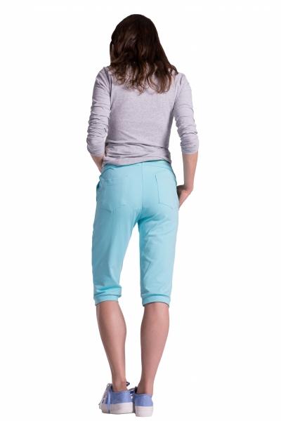 Be MaaMaa Moderní těhotenské 3/4 kalhoty s kapsami - mátové, vel. L