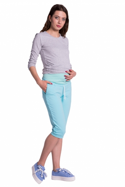 Moderní těhotenské 3/4 kalhoty s kapsami - mátové, vel. XL