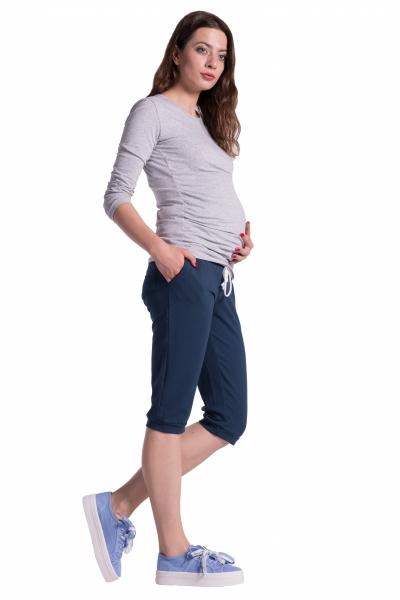 Moderní těhotenské 3/4 kalhoty s kapsami - navy, vel. S