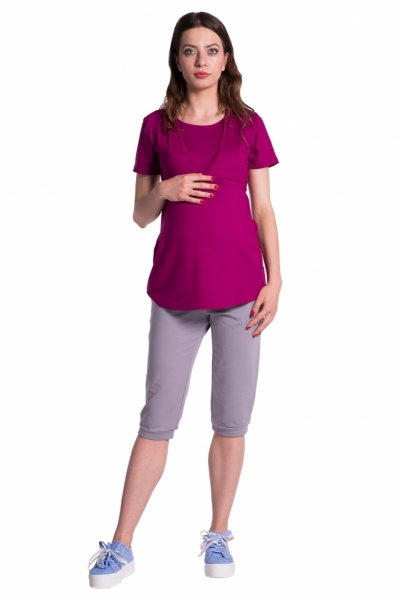 Moderní těhotenské 3/4 kalhoty s kapsami - šedé, vel. S