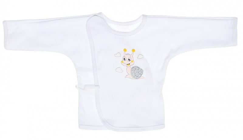 Bavlněná košilka s dlouhým rukávem a zavazováním na boku roz. 68 - Šneček - bílá, Velikost: 68 (4-6m)