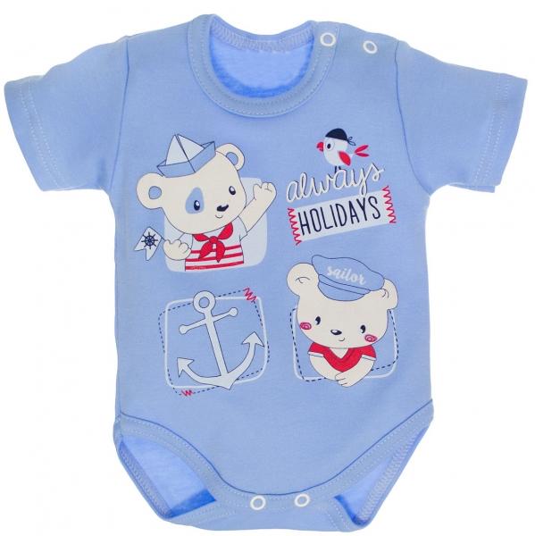 Bavlněné body, krátký rukáv vel. 68 - Medvídek námořník - modré, Velikost: 68 (4-6m)