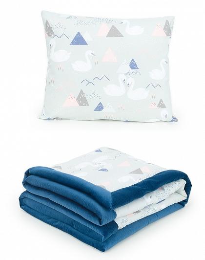 2-dílná sada - oboustranná dečka Velvet 75 x 100 cm s polštářkem - Labutě šedá/tm. modrá