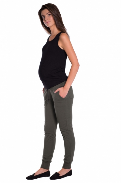 Moderní těhotenské tepláky s odnimatelným pásem - khaki, vel. S