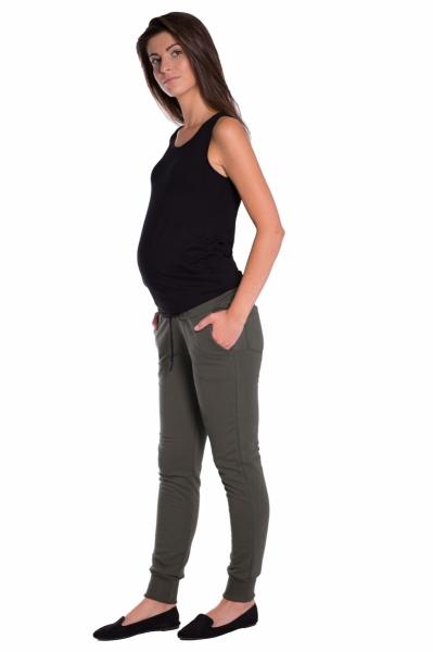 Moderní těhotenské tepláky s odnimatelným pásem - khaki, vel. M