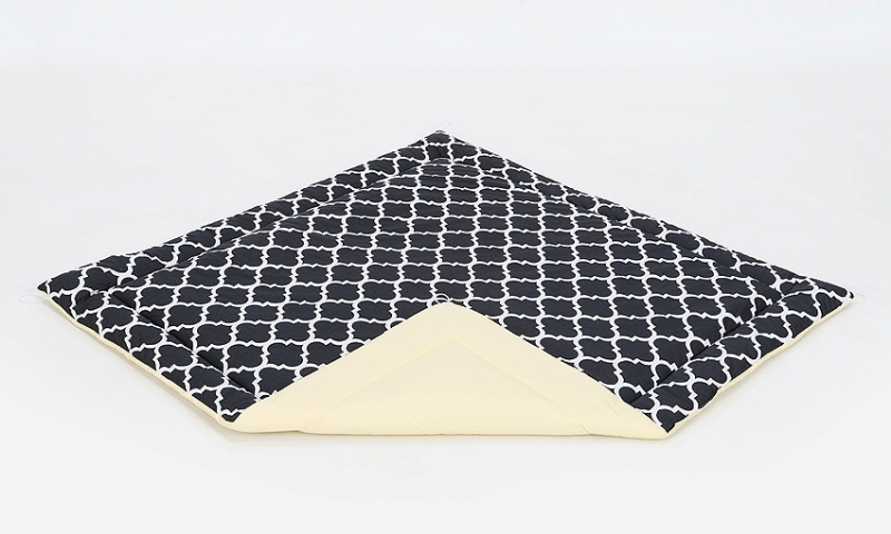 Podložka do stanu pro děti teepee, týpí - citronová/maroko černé