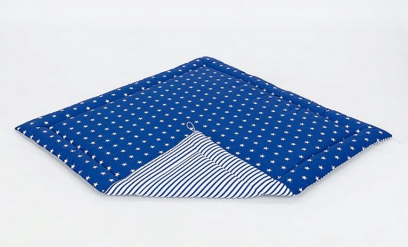 Mamo Tato Podložka do stanu pro děti teepee, týpí - hvězdičky bílé na modrém/modré proužky