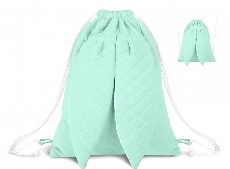 Stylový dětský batůžek Velvet lux Miminu prošívaný - mátový