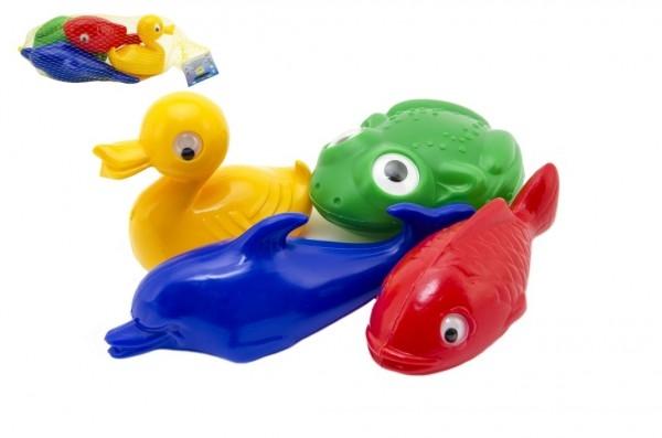 Plavací sada zvířátka do vany plast 4ks v síťce 20x14x7cm 12m+