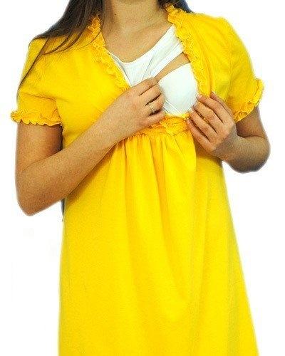 Těhotenská, kojící noční košile s volánkem - žlutá, vel. L/XL