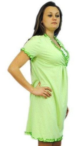 Těhotenská, kojící noční košile s volánkem - sv. zelená, vel. L/XL