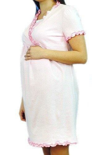 Těhotenská, kojící noční košile s volánkem - růžová, vel. L/XL
