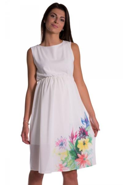 Be MaaMaa Těhotenské šaty bez rukávů s potiskem květin - ecru