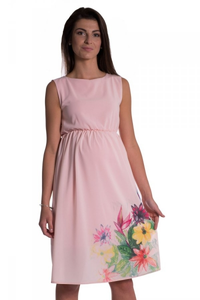 Be MaaMaa Těhotenské šaty bez rukávů s potiskem květin - růžová, vel. S, Velikost: S (36)