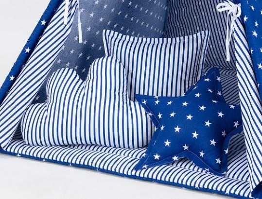 Mamo Tato Polštáře pro stan teepee, týpí - hvězdičky bílé na modrém/modré proužky