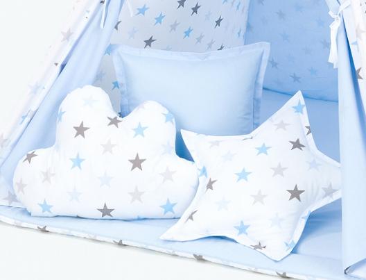 Polštáře pro stan teepee, týpí - hvězdy šedé a modré/světle modrá