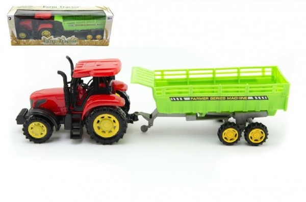 Traktor s vlekem plast 35cm na setrvačník v krabici