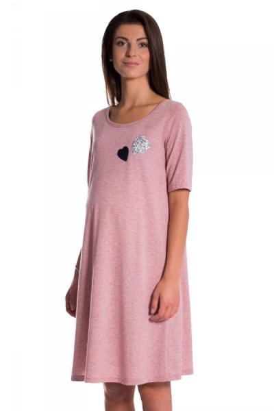 Be MaaMaa Letní, volné těhotenské šaty kr. rukáv - růžové