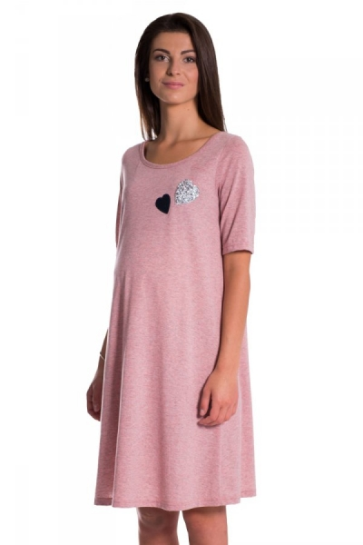 Be MaaMaa Letní, volné těhotenské šaty kr. rukáv - růžové, vel. XL