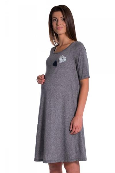 Be MaaMaa Letní, volné těhotenské šaty kr. rukáv - grafit, vel. XL