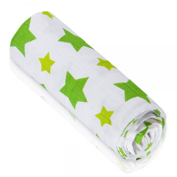 Bambusová dětská osuška - Hvězdičky zelené - 1ks