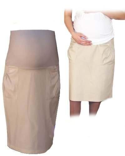 Be MaaMaa Těhotenská sportovní sukně s kapsami - béžová, vel. XL