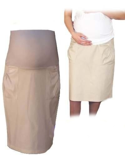 Be MaaMaa Těhotenská sportovní sukně s kapsami - béžová, vel. XXL